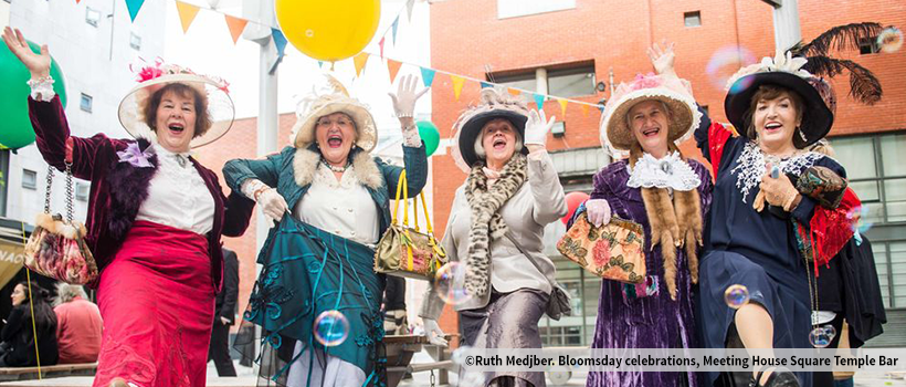 The lades from Ennis, Bridie Frawley, Anne Burke, Margaret Horan, Carmel Kehoe and Noreen Fly, enjoying Bloomsday celebrations in Meeting House Square Temple Bar. Photography by Ruth Medjber