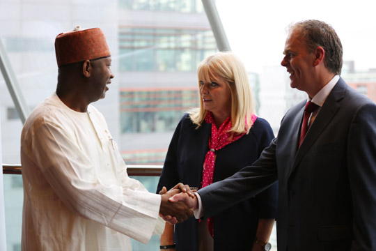Mary Mitchell O'Connor, T.D., Minister for Jobs, Enterprise and Innovation and Joe McHugh, T.D., Minister of State for the Diaspora and International Development, meet with Senator Hadi Sirika, Minister for Aviation, Nigeria.