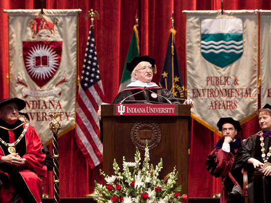 Pictured at Indiana University, Bloomington is President Higgins receiving an Honorary Degree.Picture by Shane O'Neill / Copyright Fennell Photography 2014.