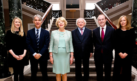 President Michael D. Higgins and his wife Sabina with the Consulate Team, Edinburgh