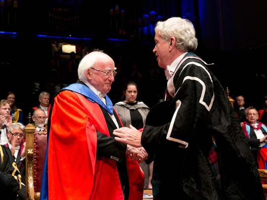 President Higgins is conferred with an honorary degree by Vice-Chancellor Prof Sir Tim O'Shea