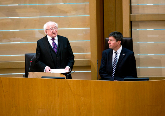 President Higgins addresses a meeting of Members of the Scottish Parliament