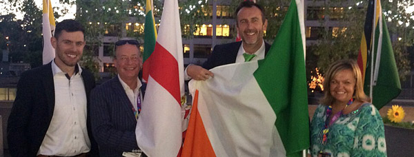 Consul General Philip Grant and Vice Consul Kevin Byrne welcome Team Ireland