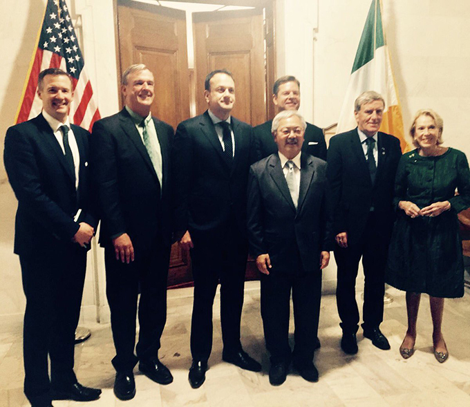 Taoiseach with Mayor Ed Lee, Ambassador Mulhall and CG Robert O'Driscoll at SF's City Hall