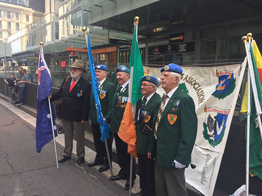 Members of the United Irish Ex-Services Association at the Anzac Day Parade in Sydney, 2017