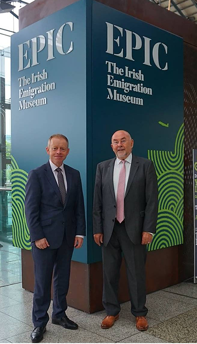 With Ruairí Quinn, Chairperson of the Institute of International and European Affairs, at EPIC Irish Emigration Museum