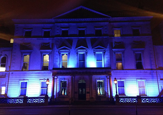 Iveagh house lit up in Blue to mark the 70th anniversary of the UN on United Nations Day.