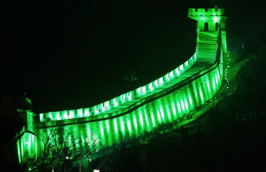 St. Patrick's Day Greening of the Great Wall, China