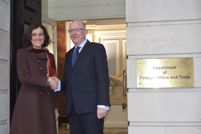 The Minister for Foreign Affairs and Trade, Charlie Flanagan, TD, meets with the Secretary of State for Northern Ireland, Theresa Villiers, in Iveagh House.