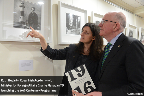 L to R Ruth Hegarty, Royal Irish Academy with Minister for Foreign Affairs Charlie Flanagan TD launching the 2016 Centenary Programme in the United States of America today in New York City at the Irish consulate. Thursday, January 7, 2016 Photo: James Higgins