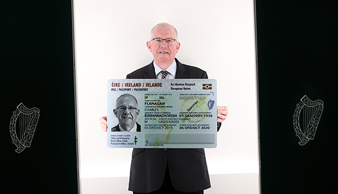 Minister for Foreign Affairs Charlie Flanagan launches Irish Passport Card for use in 30 European Countries.Picture shows Minister for Foreign Affairs and Trade Charlie Flanagan TD inside a mock up of a photo booth during the launch of the new passport card.The new innovation will allow Irish citizens to travel within all 30 countries of the EU and EEA. PIC: NO FEE, MAXWELLS/JULIEN BEHAL.