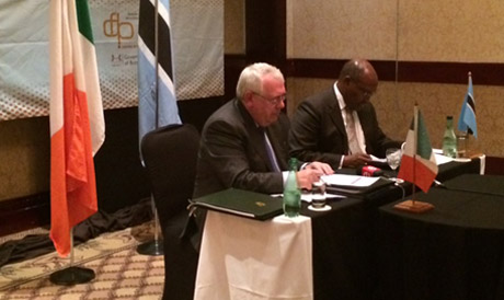 Minister Costello signing double taxation agreement with Botswana