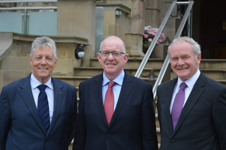 Minister Flanagan, Peter Robinson and Martin McGuinness