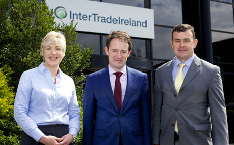 Minister Sherlock pictured with Margaret Hearty and Aidan Gough of InterTradeIreland