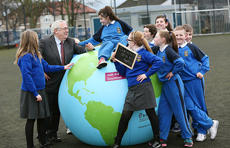 Minister Joe Costello with Schoolchildren from Gaelscoil Bharra, Cabra