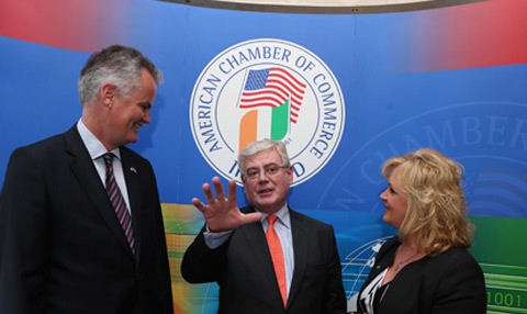 Tánaiste and Minister for Foreign Affairs and Trade, Eamon Gilmore T.D., pictured with Mark Redmond (Chief Executive) and Louise Phelan (President) addressed the American Chamber of Commerce