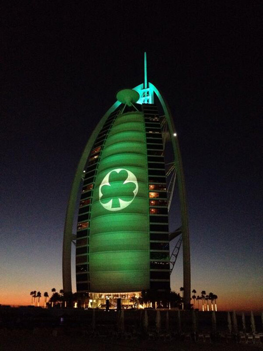 The Burj al Arab in Dubai goes Green for St Patrick's Day