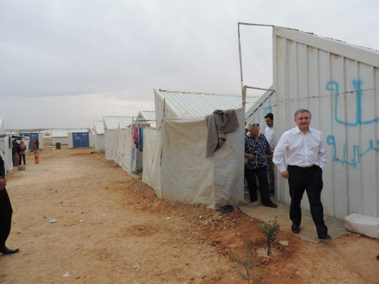Minister for Public Expenditure and Reform Brendan Howlin T.D. visiting Azraq refugee camp in Jordan, November 2014