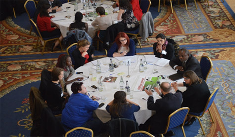 Members of civil society, government and academia discussing Ireland's Second National Action Plan on UNSCR 1325 on Women, Peace and Security during the Conflict Resolution Unit's Consultative Workshop, held at Iveagh House in Dublin on 2nd October 2014.