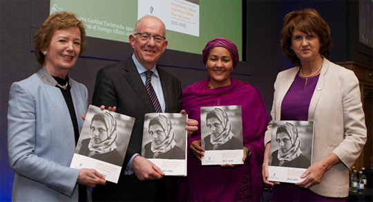 Former President of Ireland, Mary Robinson, Minister for Foreign Affairs and Trade, Charlie Flanagan, T.D., Special Adviser to the UN Secretary General on Post-2015 Development Planning, Amina Mohammed, and Tánaiste and Minister for Social Protection Joan Burton, T.D. at the launch of Ireland's second National Action Plan on Women, Peace and Security, Dublin Castle, 14 January 2015