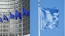 Flags of the EU/United Nations