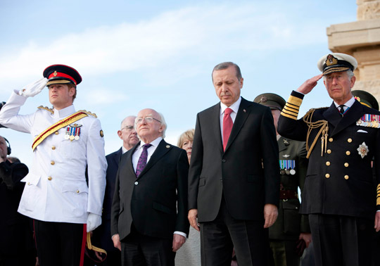 From L-R: Prince Harry, President Higgins, President Erdogan and Prince Charles
