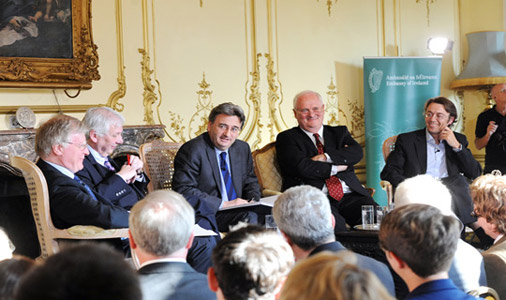 Panel discussion, chaired by the BBC's Fergal Keane, on the Irish Home Rule Bill of 1914 in the Irish Embassy in London.