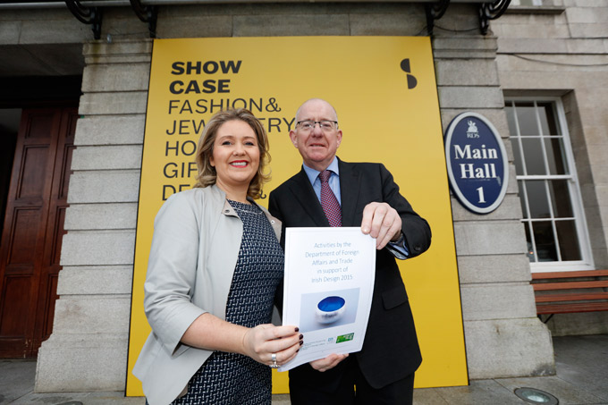 Minister Flanagan presents the report to Karen Hennessy of Irish Design 2015.