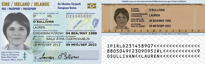 Sample Irish Passport card - Front and Back