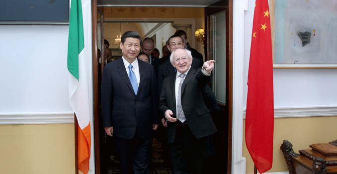 Pic shows H.E. Mr Xi Jinping , Vice President of the People's Republic of China with President of Ireland Michael D. Higgins in Aras An Uachtarain after the two held talks on the third and final day of a three day visit to Ireland as he departs to attend a event in the Royal Hospital Kilmainham.   PIC MAXWELL'S DUBLIN POOL PIX NO FEE