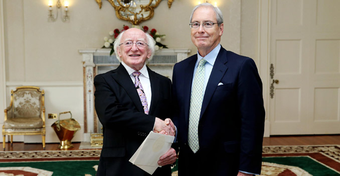 H.E. Mr. Kevin F. O'Malley, Ambassador of the USA, presenting his Letter of Credence to the President at Áras an Uachtaráin