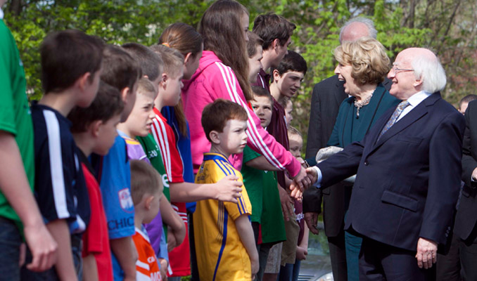 Visit to Chicago, Illinois & Bloomington, Indiana, USA by The President of Ireland and Sabina Higgins. Pictured is President Higgins and Sabina Higgins meeting children at Gaelic Park, Chicago. Picture by Shane O'Neill / Copyright Fennell Photography 2014.