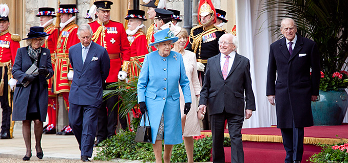 Pictured is President of Ireland Michael D Higgins and his wife Sabina with Her Majesty Queen Elizabeth II and  The Duke of Edinburgh at the 'Welcome Ceremony' in Windsor Castle on the first official day of the Presidents 5 day State Visit to the United Kingdom.