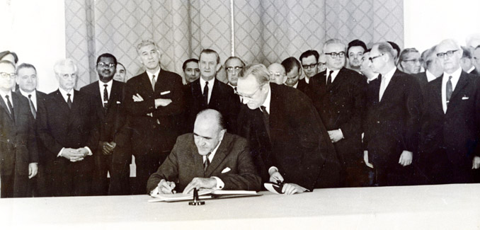 Minister for External Affairs Frank Aiken was the first signatory of the Non-Proliferation Treaty in 1968