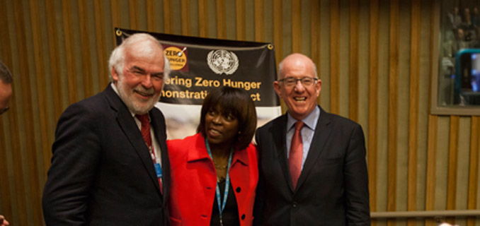 Tom Arnold, left, chairman of the Convention of the Irish Constitution, Ertharin Cousin, second from left, Executive Director of the United Nations World Food Programme, and Charles Flanagan, center, Minister for Foreign Affairs and Trade, Ireland, attend the Delivering Zero Hunger – at the United Nations in New York, U.S., on Thursday, September 25, 2014.  Photograph by Michael Nagle