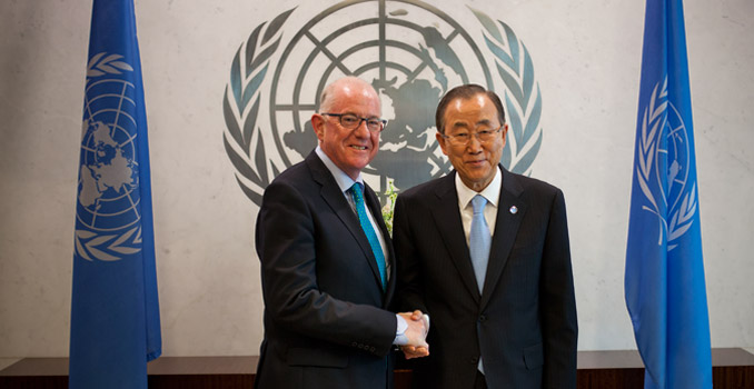 Charles Flanagan, left, Minister for Foreign Affairs and Trade, Ireland, meets with United Nations Secretary-General Ban Ki-Moon during the 69th United Nations General Assembly in New York, U.S., on Monday, September 29, 2014.  Photograph by Michael Nagle