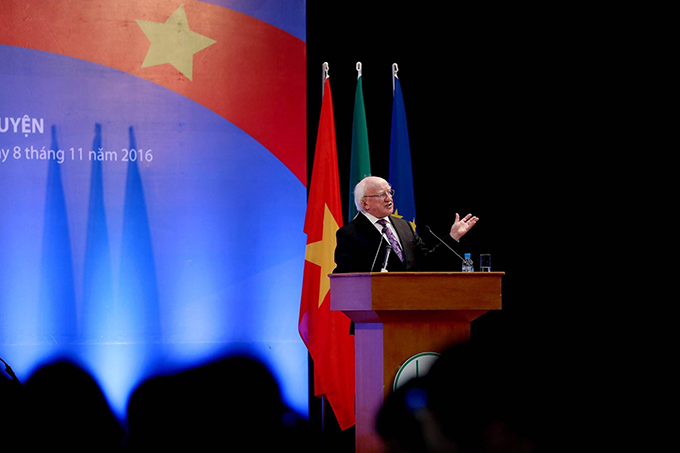 President Michael d. Higgins delivered a key note address to over 500 academics, students and development practitioners yesterday at the Vietnam National University Hanoi. The President highlighted key challenges and opportunities for global sustainable development agenda, the bilateral partnership between Ireland and Vietnam and the value of education. Credit: Maxwell's Photogpraphy