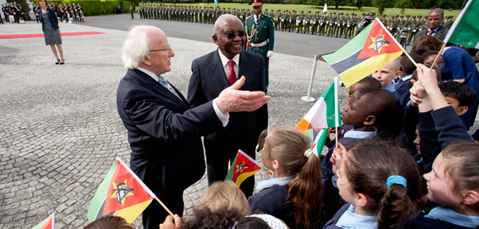 President of the Republic of Mozambique Mr Armando Emilio Guebuza with The President of Ireland, Michael D Higgins meeting children from Our Ladyswell Primary School Mulhuddart at Aras an Uachtarain during President Guebuza's 4 day state visit to Ireland from the 3rd to the 6th of June .Photo Chris Bellew / Copyright Fennell Photography 2014