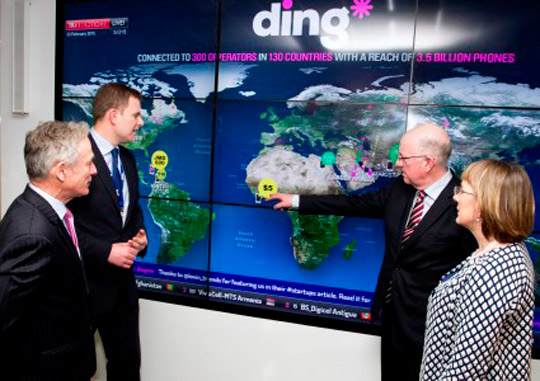 Pictured at the 2015 launch of both the Saint Patrick's Day 'Promote Ireland' programme and the Enterprise Ireland annual trade mission/event programme at the offices of Enterprise Ireland client company ding*: Minister Flanagan with Minister Bruton; Julie Sinnamon, Enterprise Ireland CEO; and Mark English, ding* COO.