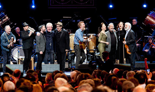 Pictured are performers from left, Donal Lunny, Steve Nieve, Conor j O'Brien, Paul Brady, Elvis Costello, Glen Hansard, Imelda May, Andy Irvine, Lisa Hannigan and John Sheehan at a Celebration of British and Irish Culture Concert in the Royal Albert Hall in London on the third official day of the Presidents 5 day State Visit to the United Kingdom