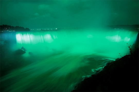 Niagara Falls (on both the Canadian and US sides)