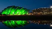 The Clyde Auditorium, known as 'The Armadillo' coloured green for St. Patrick's Day