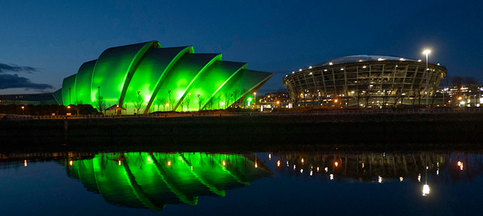 The Clyde Auditorium, also known as 'The Armadillo' lit up green for St. Patrick's Day