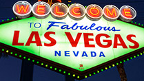 The 'Welcome to Las Vegas' sign coloured green to celebrate St. Patrick's day