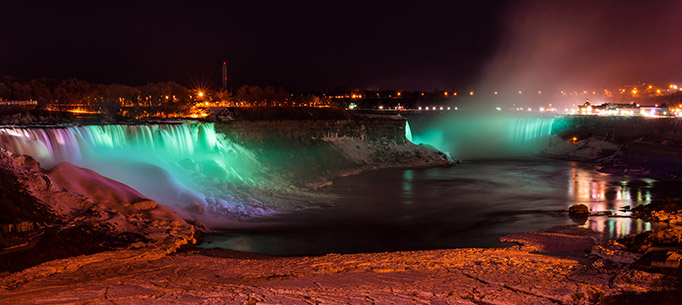 Niagara Falls coloured green to celebrate St Patrick's Day