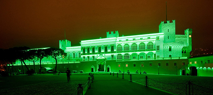The Princes Palace in Monaco lit green at night to celebrate St Patrick's Day