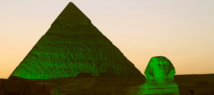 Pyramids in green lighting for St. Patrick's Day 2013
