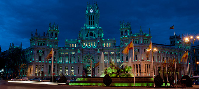 Cibeles Palace Madrid in green lighting for St. Patricks Day 2013