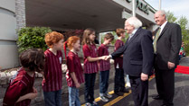 Pictured is President Higgins and John Devitt, President of Gaelic Park meeting children at Gaelic Park, Chicago.Picture by Shane O'Neill / Copyright Fennell Photography 2014.