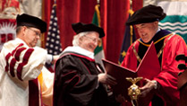 Pictured at Indiana University, Bloomington receiving an Honorary Degree is President Higgins and President of Indiana University, President McRobbie. Picture by Shane O'Neill / Copyright Fennell Photography 2014.